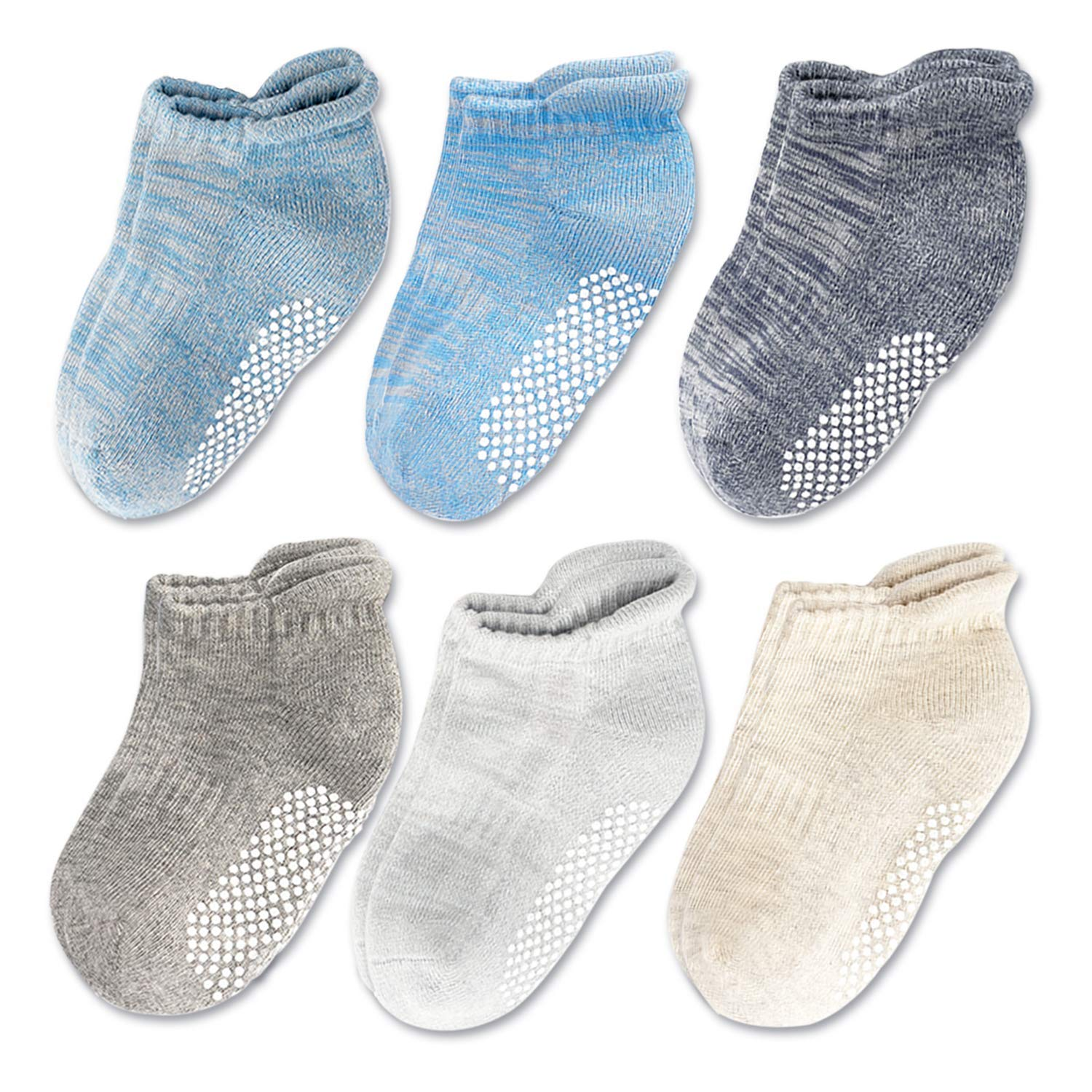 Baby Boy Girl Toddler Kids Low Cut Ankle Socks With Non Slip//Anti Skid Grips,1-2T,2-4T, 6 Pairs