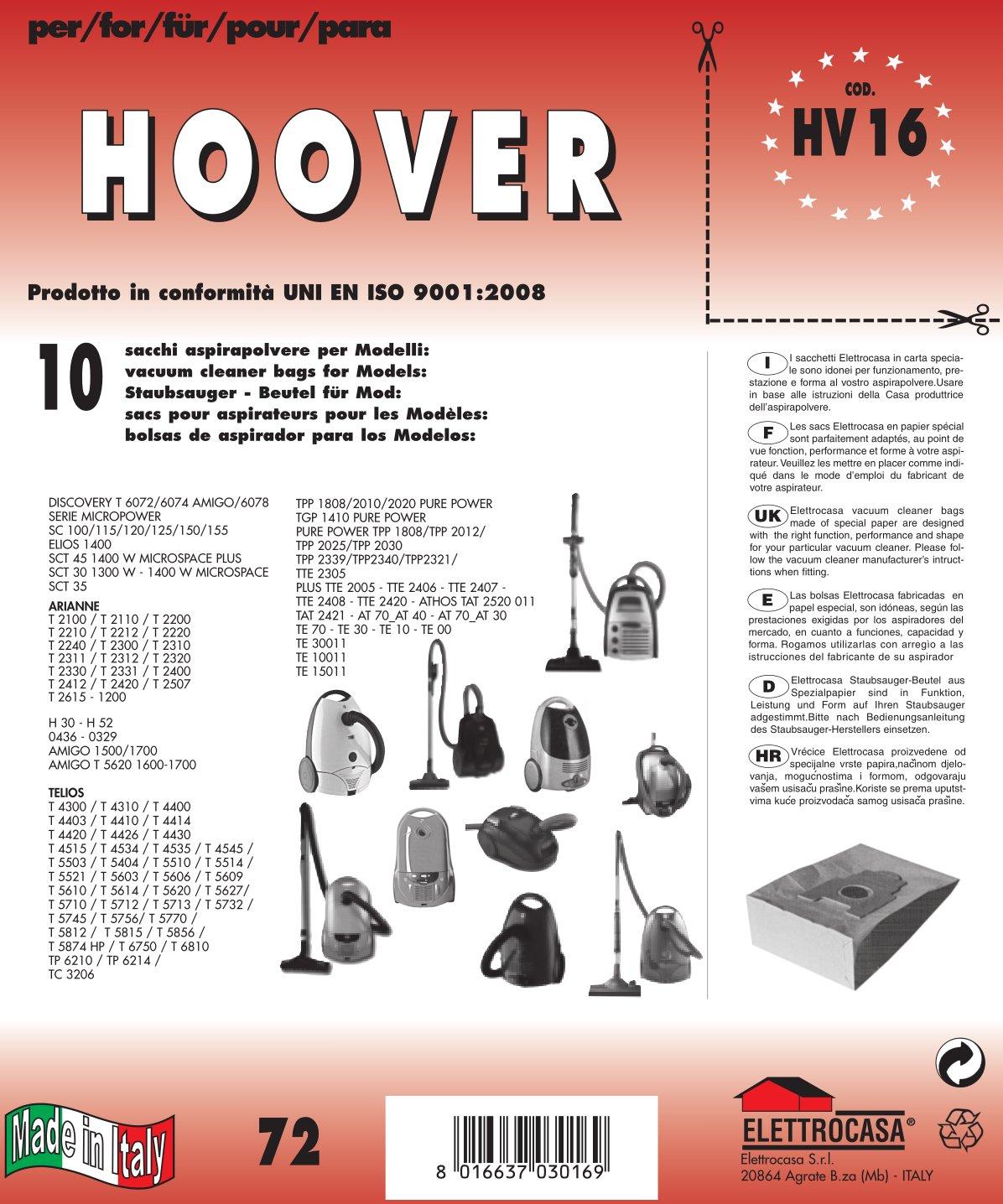 HV 16 sacchetti per aspirapolvere confezione da 10 sacchi carta