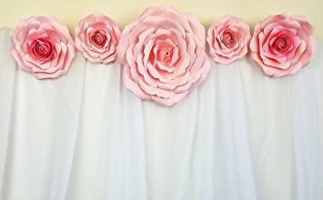 Large Paper Flower Decor Set 5pc, Event Decorations, Wedding Photography,  Flower Wall Decor