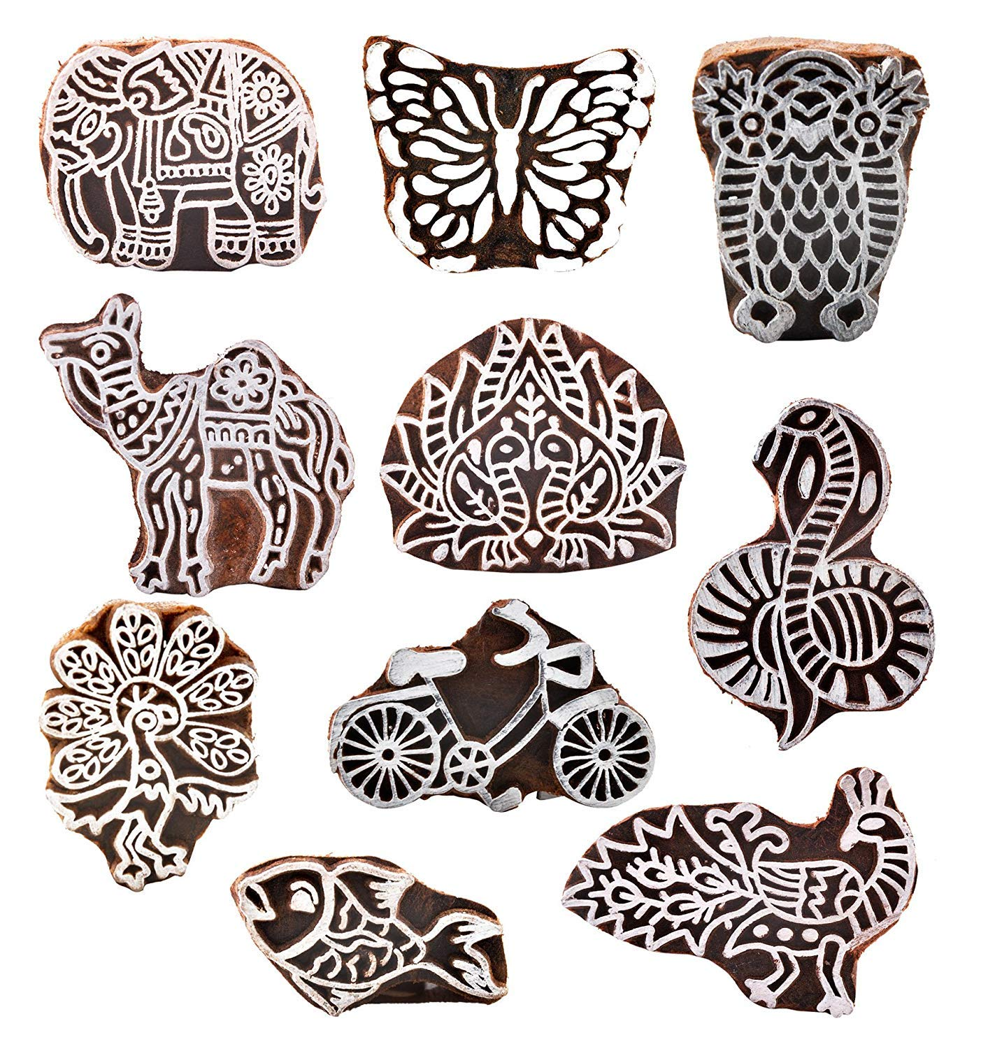 PARIJAT HANDICRAFT (Set of 10) Wooden Printing Stamp Block Hand-Carved for Saree Border Making Pottery Crafts Textile Printing