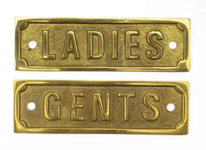 12df7da10f3 Solid Brass LADIES   GENTS Signs (9cm x 3cm) (LADIES and GENTS ...
