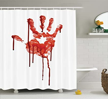Ambesonne Horror House Decor Shower Curtain By Bloody Hand Backgrounded Dead Terror Murder Evil Victim