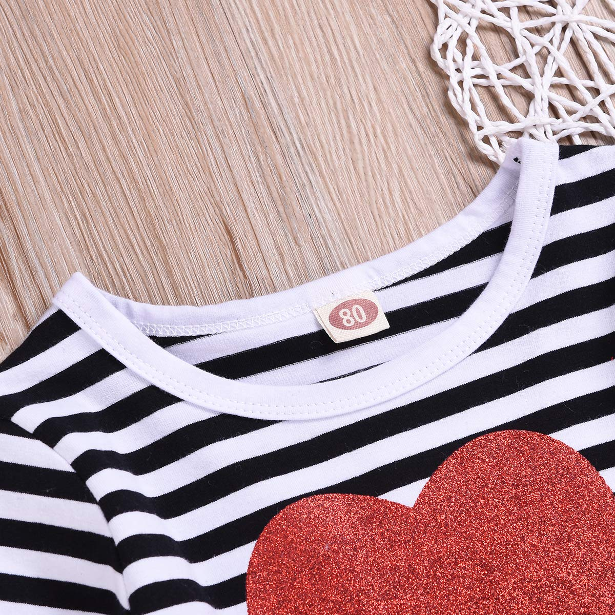 Valentines Day Toddler Baby Girl Dress Love Heart Stripe Long Sleeve Tutu Skirt Outfits Clothes