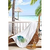 Kiğılı Dijital Baskılı Plaj Havlusu, Pamuk, Beyaz, 70x150 Cm