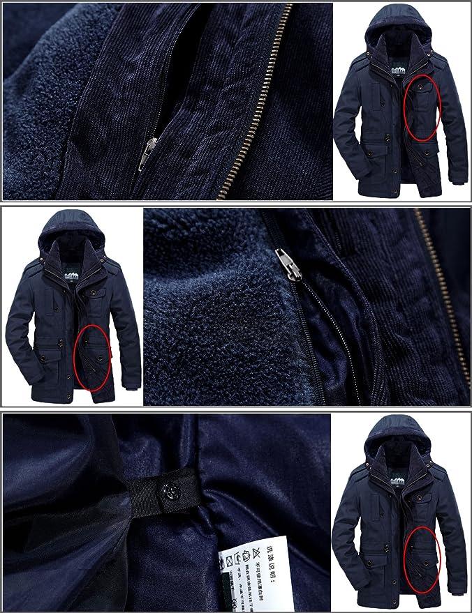Mr.Stream Giant Giacca da Uomo in Cotone Colletto Militare Multi Tasche Invernale Lunga Cappotti Cappotto Parka Caldo Giubbotto