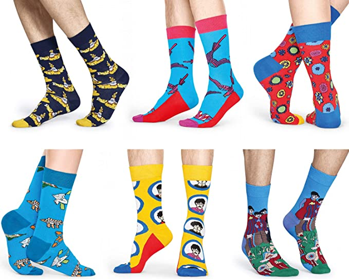 Happy Socks Men And Women Beatles 50th Aniversario LP Coleccionistas en Caja de Regalo Calcetines Pack