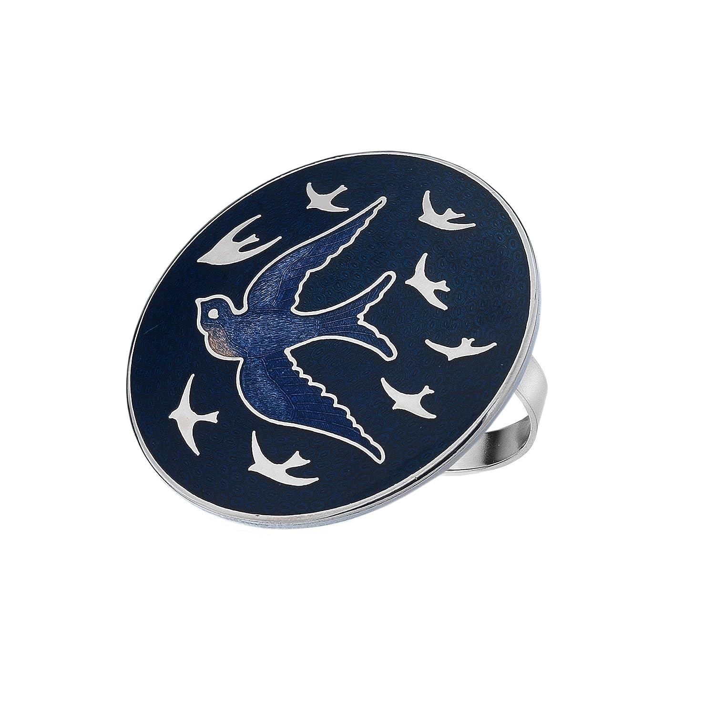 ATTRACTIVE ENAMELLED SWALLOW BIRD DARK BLUE SCARF RING IN PRESENTATION BOX Sea Gems 21