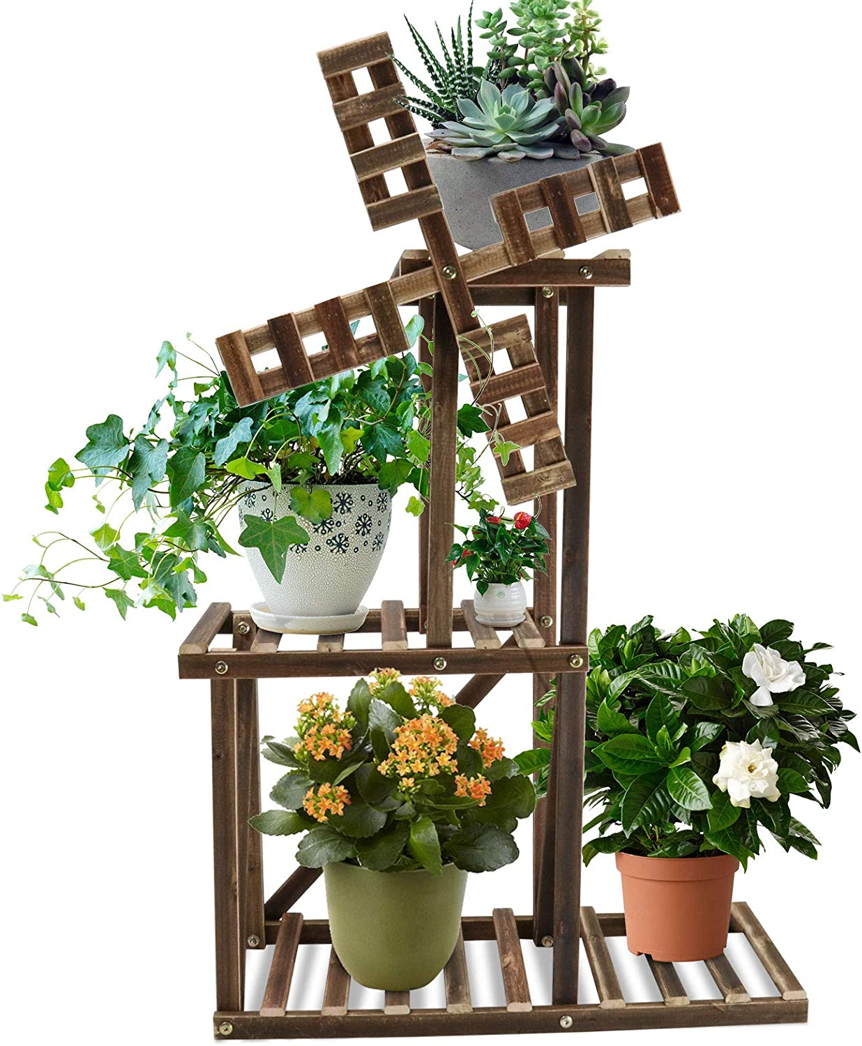 Wood Plant Stand,Wooden Plant Display Multi Tier Windmill Flower Shelves Stands for Patio Garden Balcony Yard - Suitable for Outdoor & Indoor Use