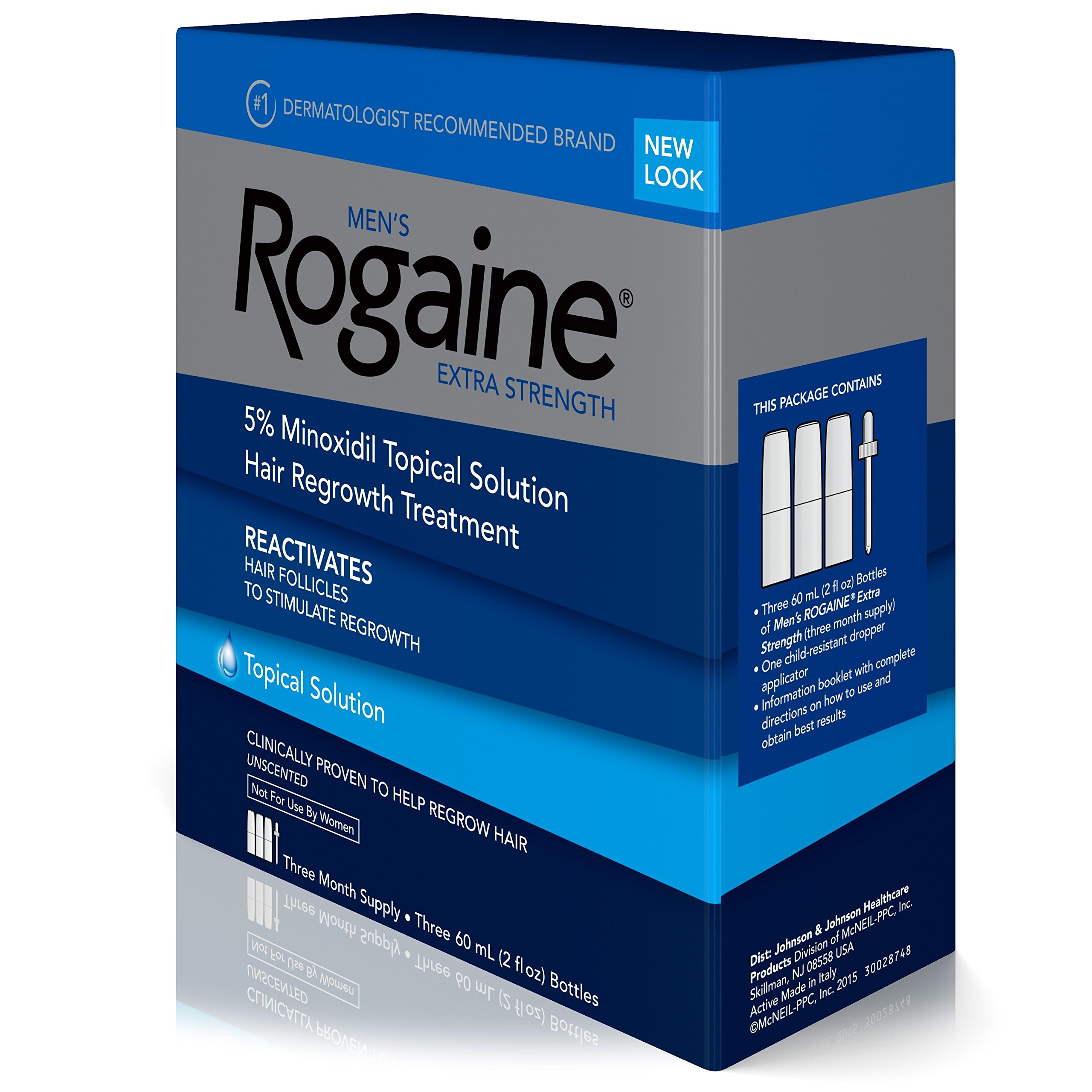 Men's Rogaine Extra Strength 5% Minoxidil Topical Solution for Hair Loss and Hair Regrowth, Topical Treatment for Thinning Hair, 3-Month Supply by Rogaine (Image #2)