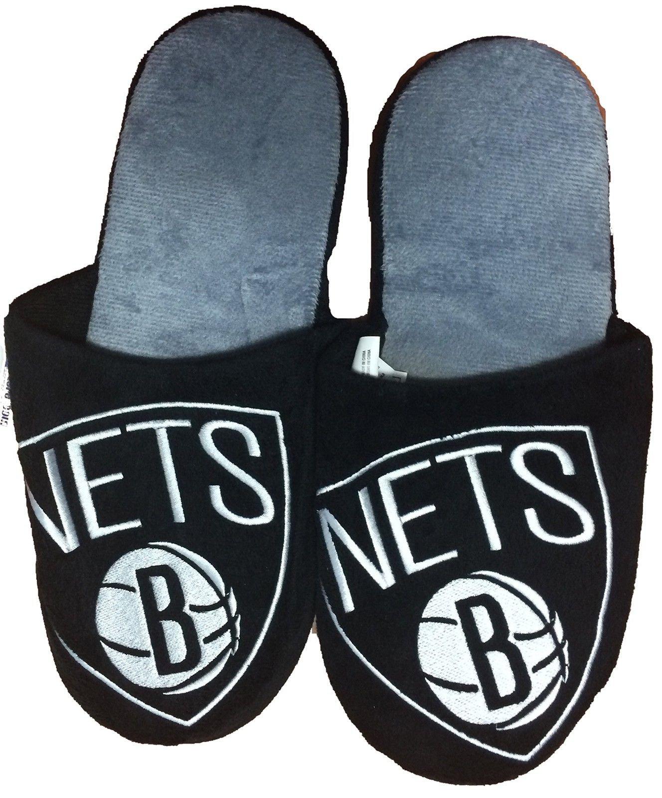 NBA Brooklyn Nets Men's Team Logo Slippers Black (Medium (9-10)) by NBA