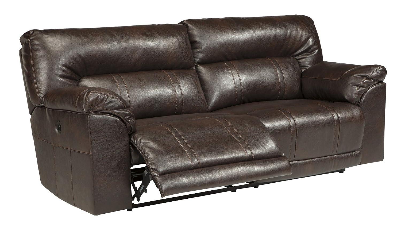 Amazon.com: Ashley Barrettsville 2 Seat Leather Power Reclining Sofa In  Chocolate: Kitchen U0026 Dining Part 90