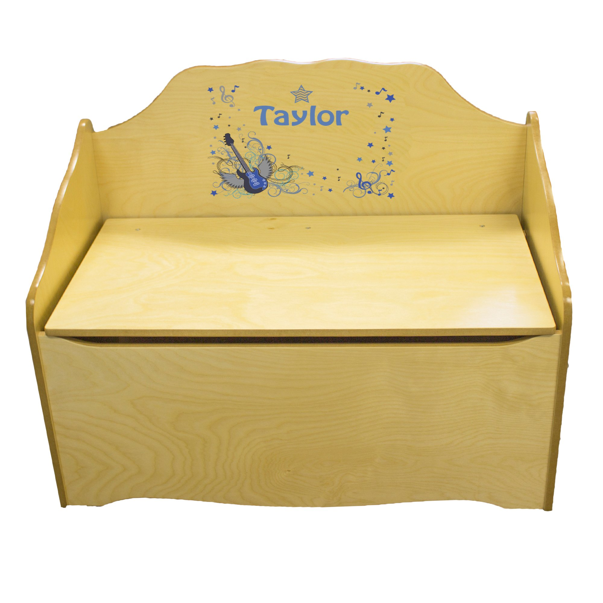 Personalized Blue Rock Star Childrens Natural Wooden Toy Chest
