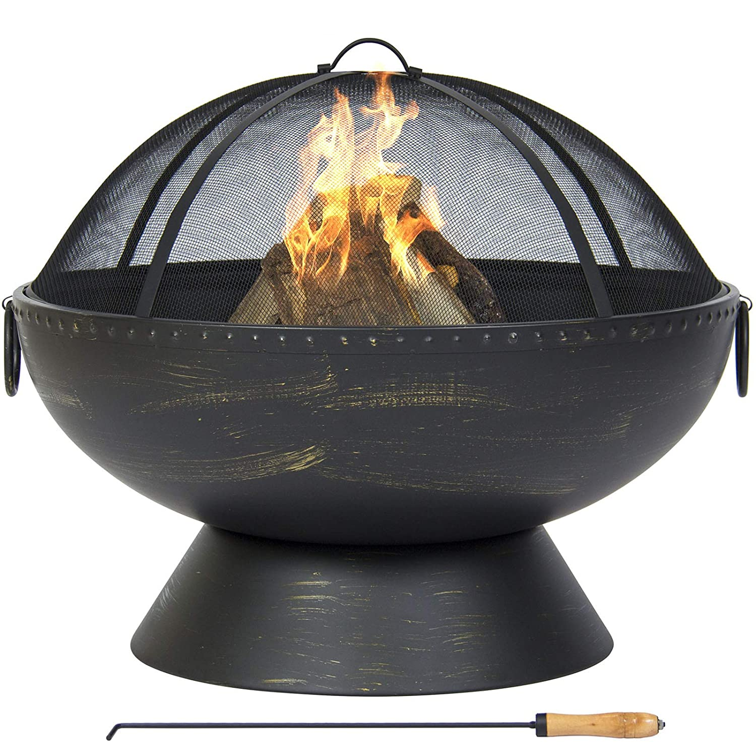 Best Choice Products Large Fire Pit Bowl With Handles, Spark Screen And Poker