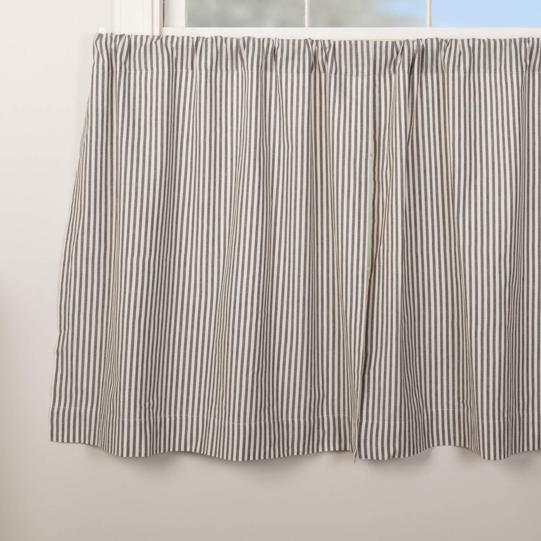 Farmhouse Ticking Stripe Gray Tier Curtains, Set of 2, 36'' Long, Farmhouse Style Café Curtains by Piper Classics