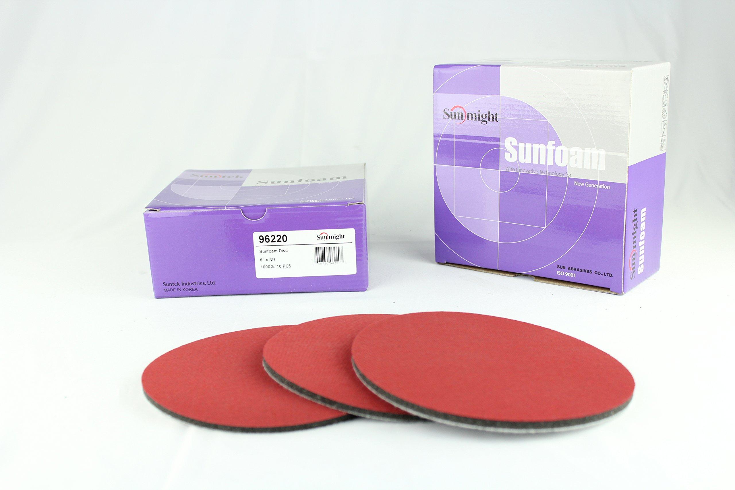 Sunmight 96220 1 Pack 6'' No Hole Velcro Foam Disc (Sunfoam Grit 1000) by Sunmight (Image #4)