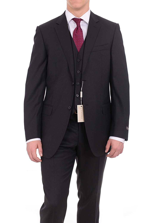 Canali Slim Fit 44l 56 Drop 8 Black Three Piece Wool Suit
