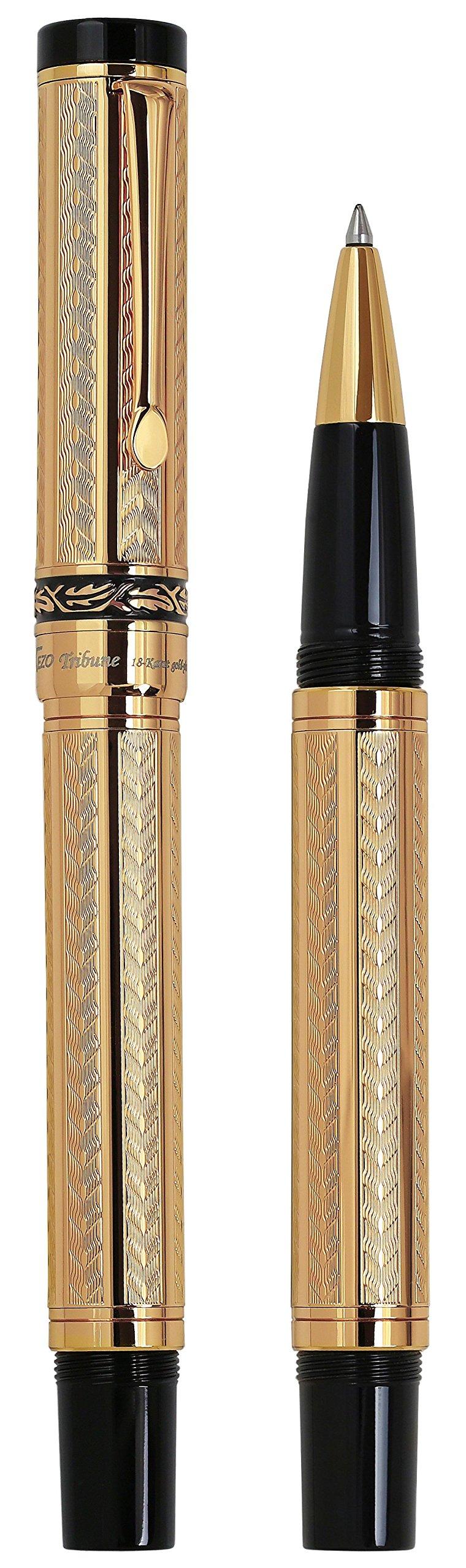 Xezo Diamond-Cut 18-Karat Gold Layered Weighty Fine Rollerball Pen. Screw-on cap (Tribune Gold RG) by Xezo (Image #2)