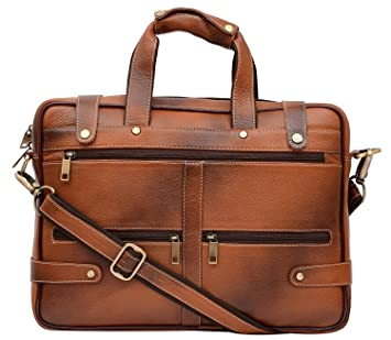 902b9e30a5 HiLEDER 100% Pure Genuine Leather Stylish 15 inches Designer Office  Briefcase Laptop Shoulder Messenger Bag for Man and Women
