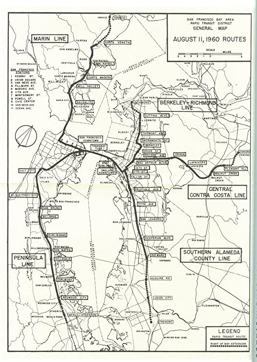 Amazon Com Gifts Delight Laminated 24x33 Poster San Francisco Bay Area Rapid Transit District General Map August 11 1960 Routes Posters Prints There are five lines, referred to by their end points (not by their colors). san francisco bay area rapid transit