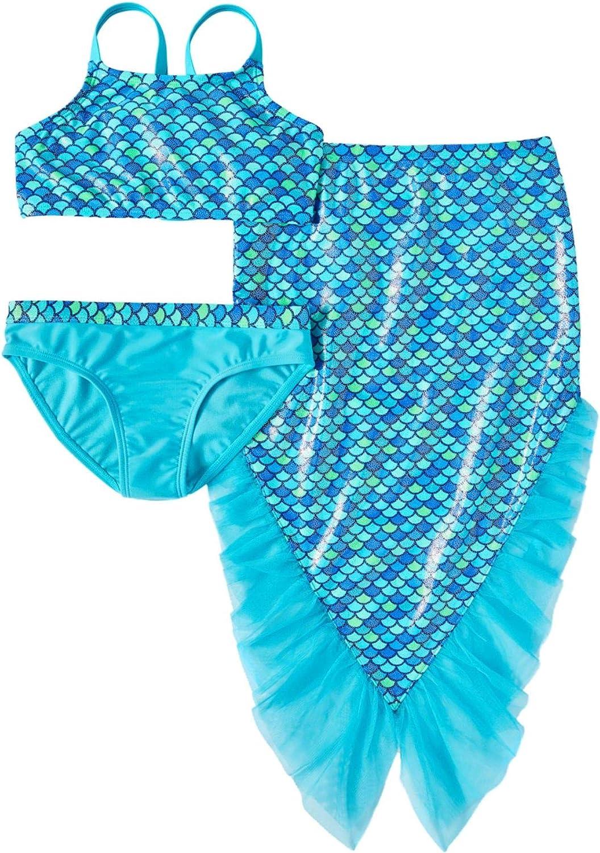Wonder Nation Toddler Girls Mermaid Swimsuit with Tail 2T, Blue Splendor