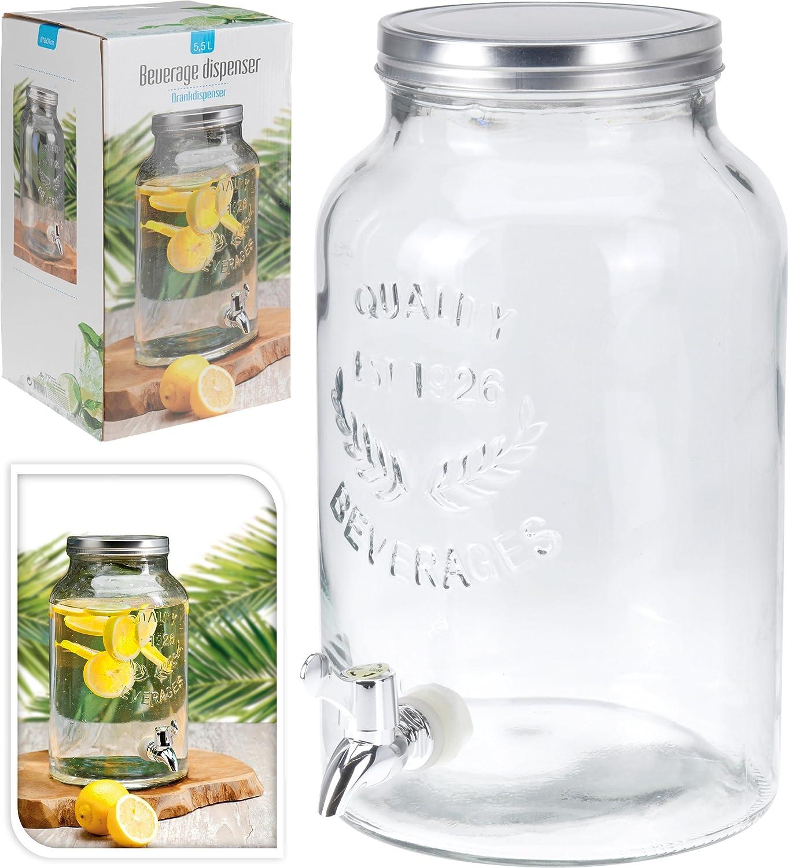 5,5 l Dispenser di bevande con coperchio a vite in vetro