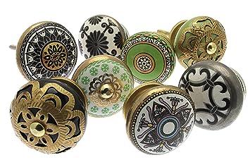 Pomelli Per Credenza Vintage : Set misto di pomelli in ceramica per cassetti e comodini stile