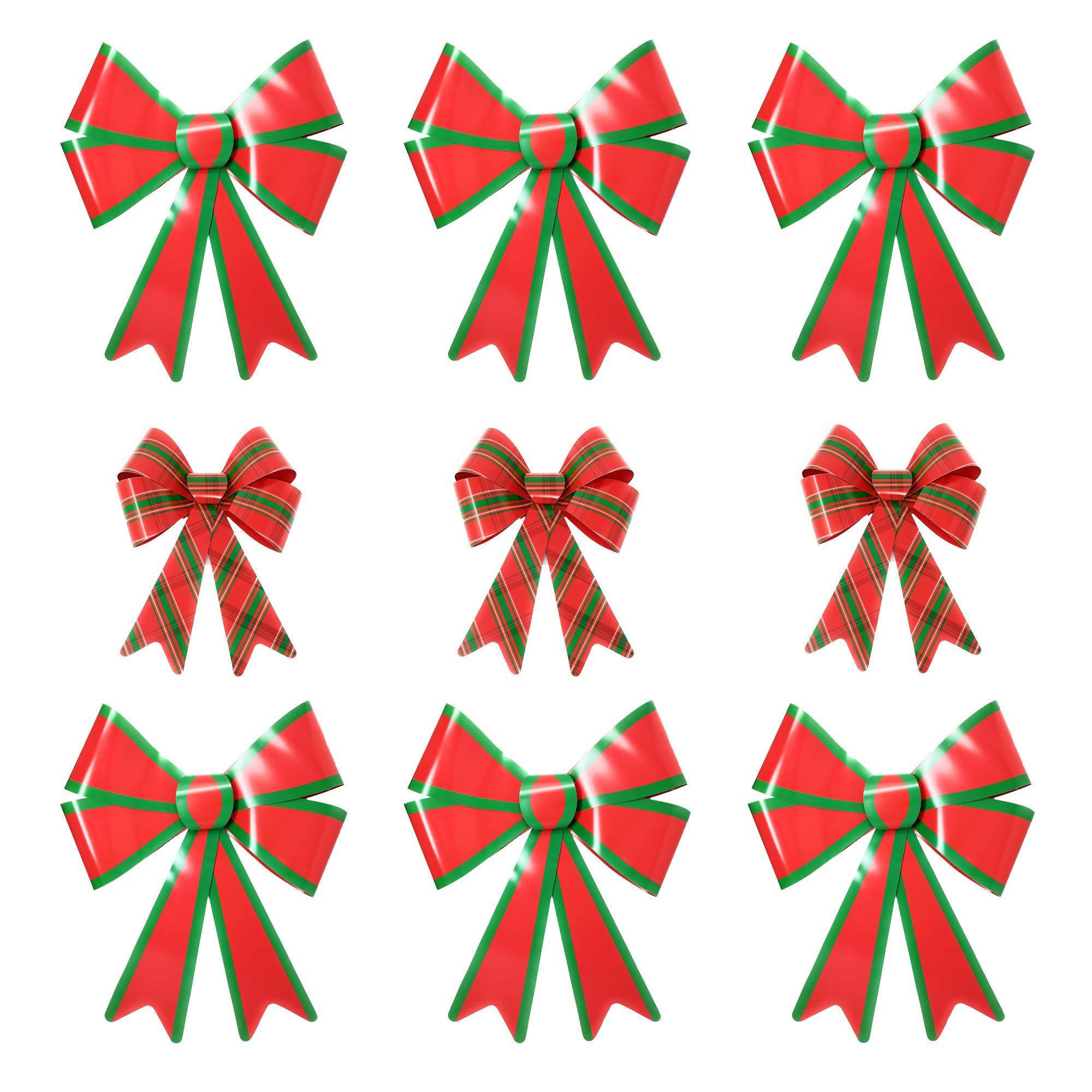 Red & Green Christmas Decorative Bow Bundle - Set of 3 Medium Plaid PVC Bows (11'' x 14'') and 6 Large PVC Bows (19'' x 24'')