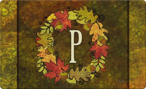 Toland Home Garden 830135 Fall Wreath Monogram P 18 x 30 Recycled Mat, USA Produced