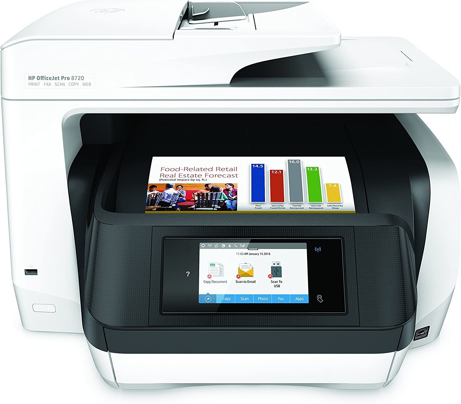 HP OfficeJet Pro 8720 All-in-One Wireless Printer with Mobile Printing, HP Instant Ink & Amazon Dash Replenishment ready - White (M9L75A) (Renewed)
