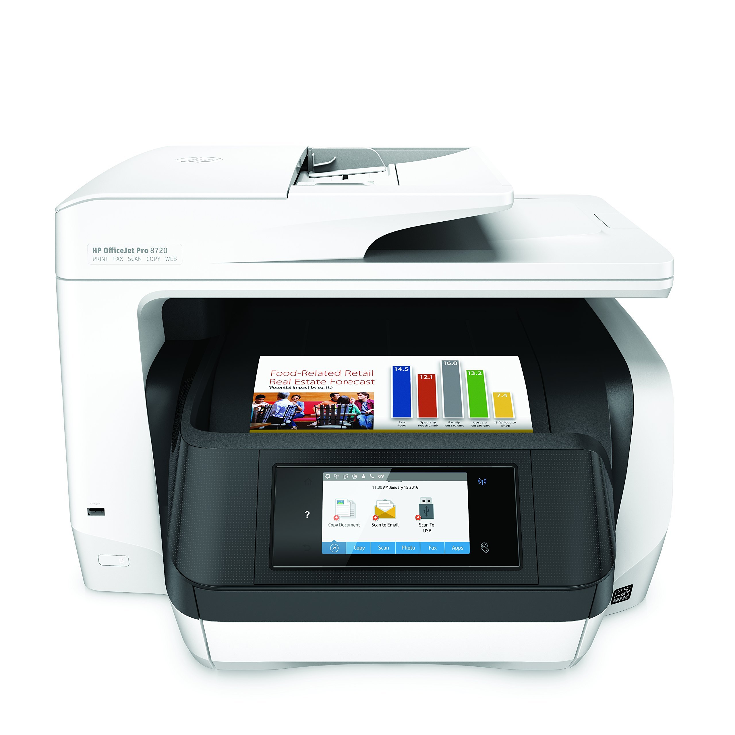 HP OfficeJet Pro 8720 All-in-One Wireless Printer with Mobile Printing, HP Instant Ink & Amazon Dash Replenishment ready - White (M9L75A) (Renewed) by HP (Image #1)