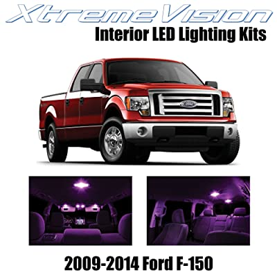 Xtremevision Interior LED for Ford F-150 2009-2014 (12 Pieces) Pink Interior LED Kit + Installation Tool: Automotive