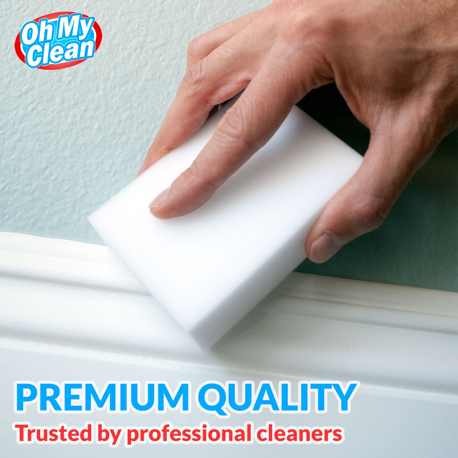 (100 Pack) Extra Large Magic Cleaning Eraser Sponge - 2X Thick, 2X Longer Lasting Melamine Sponges in Bulk - Multi Surface Power Scrubber Foam Pads - Bathtub, Floor, Baseboard, Bathroom, Wall Cleaner by Oh My Clean (Image #3)