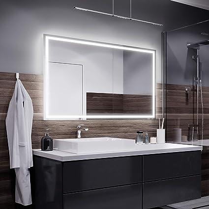 Alasta Miroir Atlanta Éclairage Salle de Bain Miroir Lumineux   Miroir  Mural LED Illumination   Choisir la Taille (Blanc Chaud, Largeur 120cm X ...