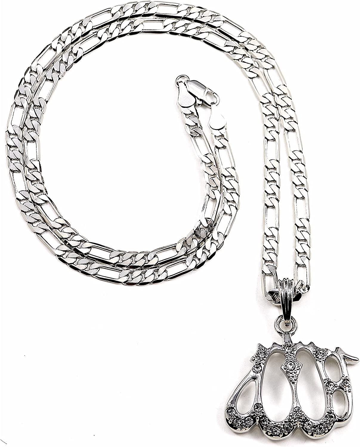 GWOOD Ankh Pendant Silver Color with 24 Inch Long Figaro Necklace