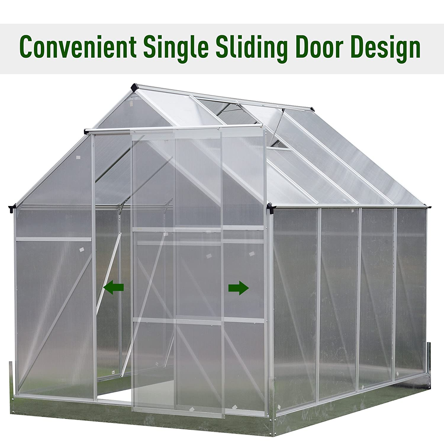 Amazon.com : Outsunny Aluminum 8'L x 6'W x 7'H Polycarbonate ... on greenhouse cabinets, easy greenhouse plans, big greenhouse plans, backyard greenhouse plans, greenhouse garden designs, winter greenhouse plans, small greenhouse plans, attached greenhouse plans, homemade greenhouse plans, lean to greenhouse plans, diy greenhouse plans, pvc greenhouse plans, solar greenhouse plans, greenhouse architecture, greenhouse ideas, greenhouse layout, greenhouse windows, wood greenhouse plans, a-frame greenhouse plans, hobby greenhouse plans,