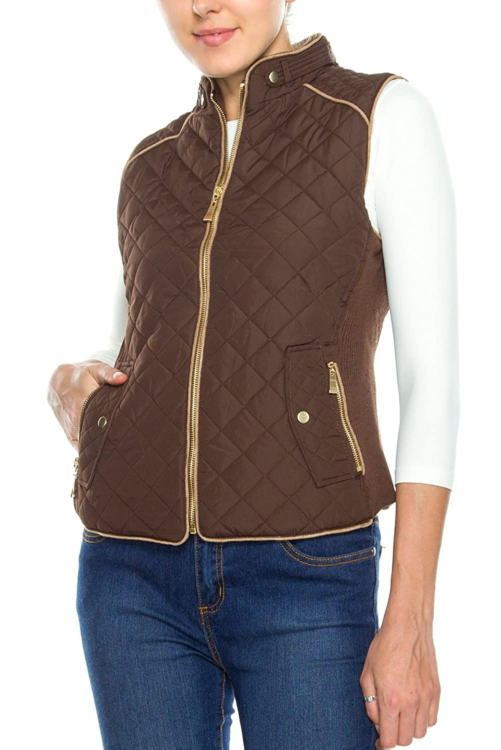 KAYLYN KAYDEN KLKD Women's Quilted Mockneck Side Ribbed Panel Vest A038WOCA1G03