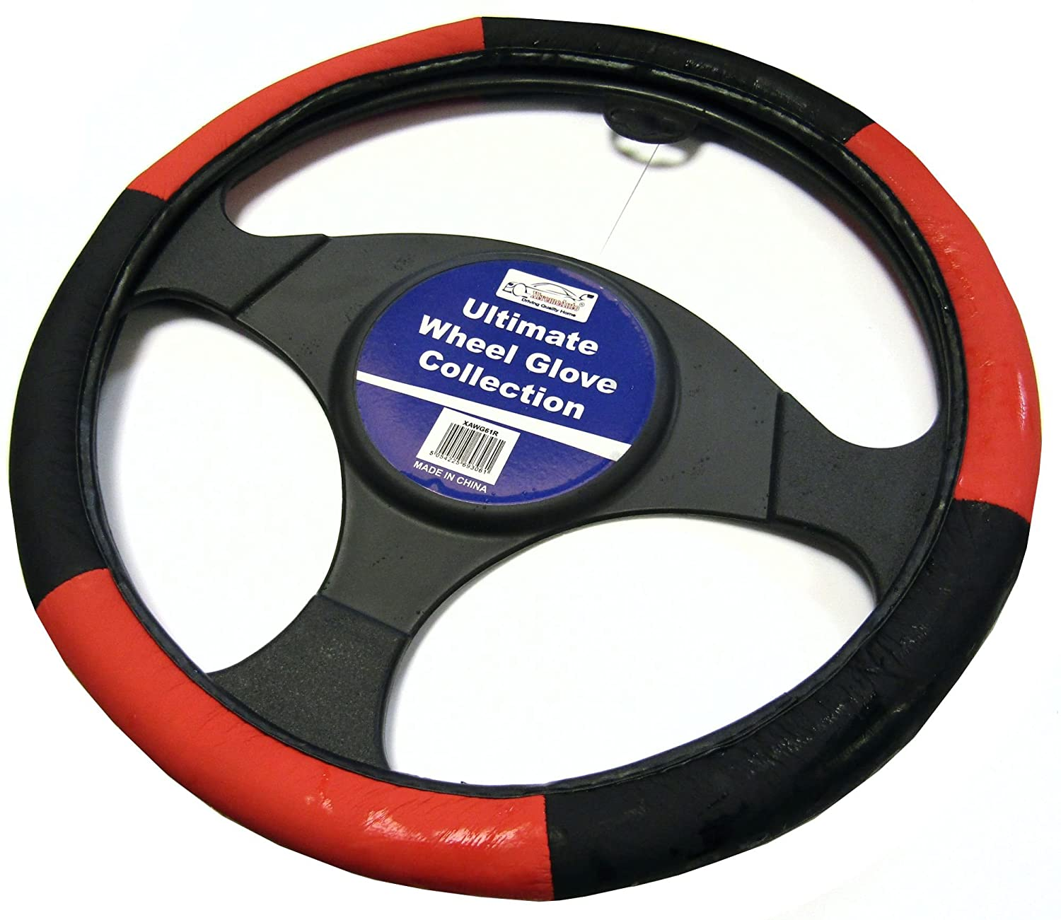 XtremeAuto® Black And Red Ultimate Steering Wheel Cover Glove - XAWG61R XtremeAuto®