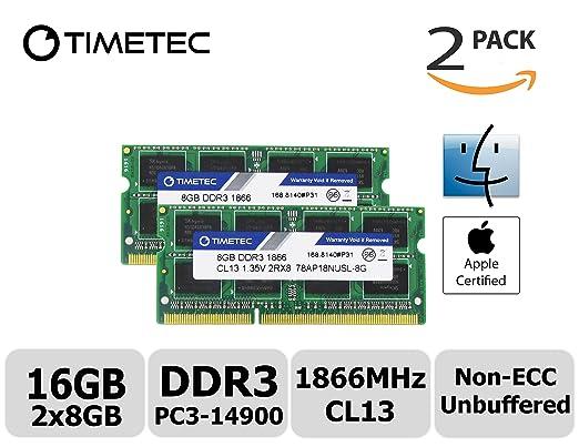 4 opinioni per Timetec Hynix IC 16GB Kit (2x8GB) DDR3 PC3-14900 1866MHz Apple iMac 17,1