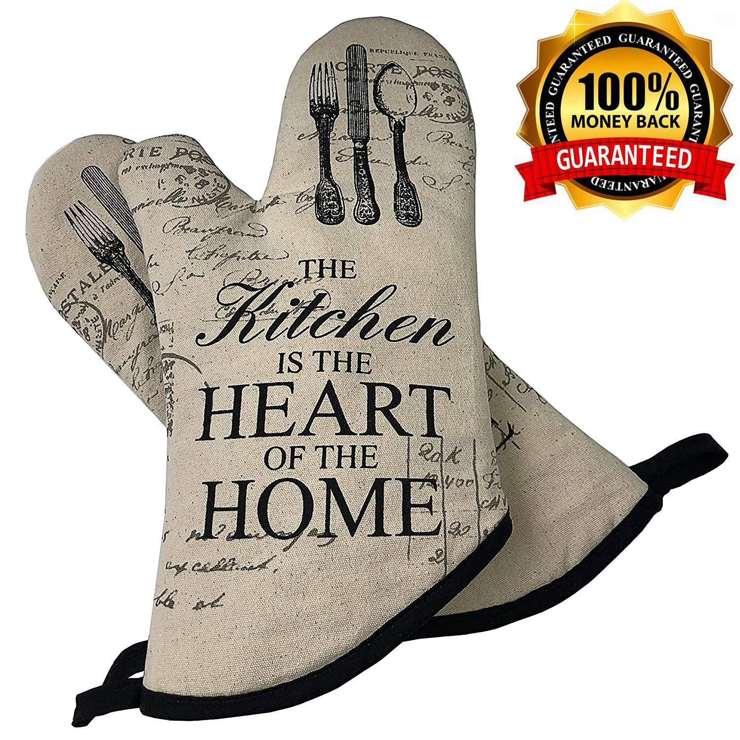 AicLuze Oven Mitts - Microwave Oven Glove Heat Resistant to 500℉, Soft Cotton Lining with Non-Slip Surface for BBQ, Food, Grilling, Frying, Baking Premium Insulated Durable Machine Washable