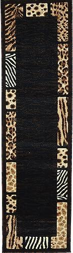 Animal Skin Prints Patchwork Leopard Zebra Border Runner Rugs 4 Less Collection Area Rug R4L 73 2'X7'