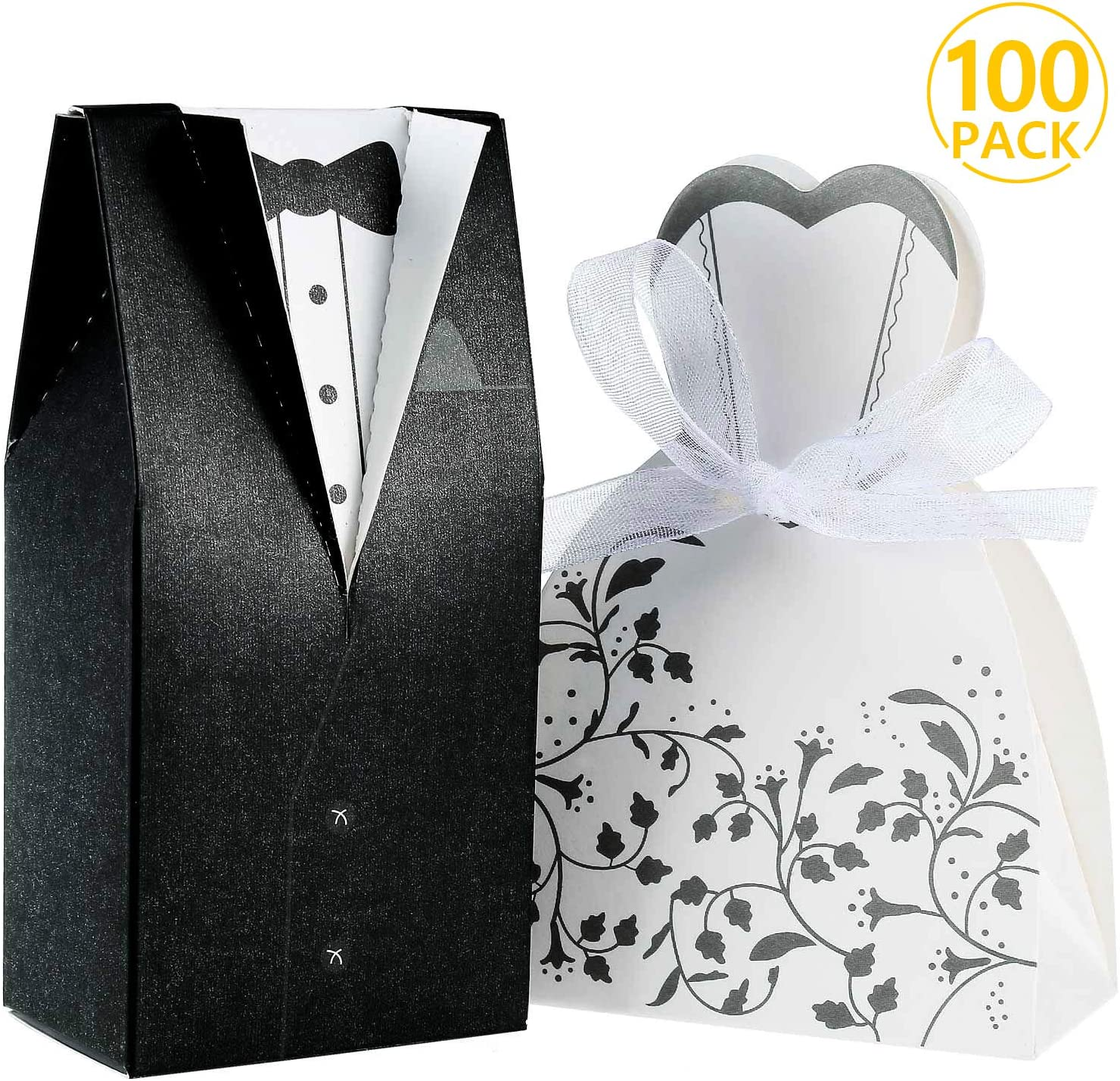 Foonii® 100pcs Cajas de Caramelos Cajas de Regalo (50pcs Novia + 50pcs Novio), Regalo, Recuerdo, Favor, Detalle, Decoración para Invitados de Boda: Amazon.es: Juguetes y juegos