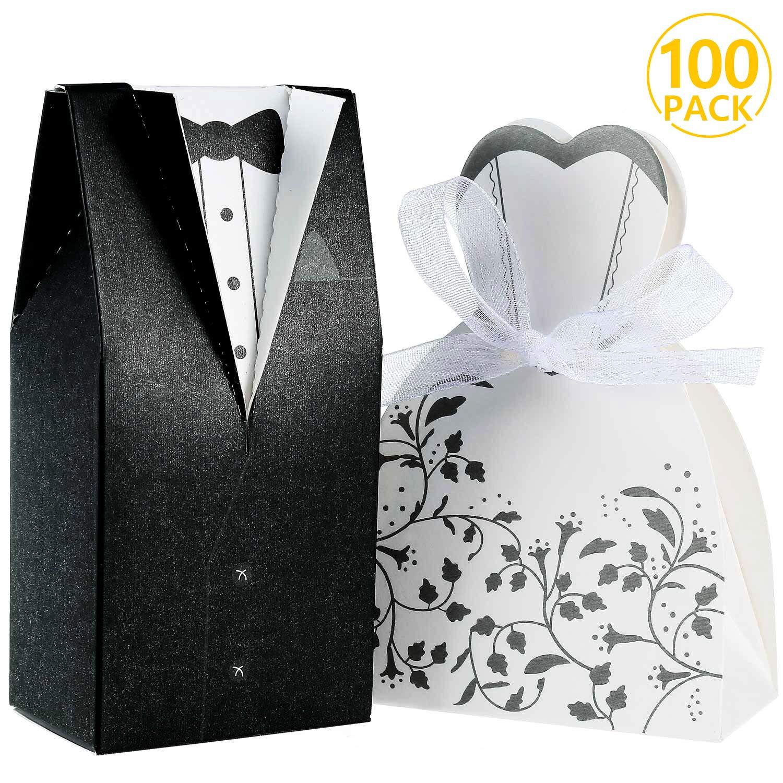 Foonii 100pcs Boîte à Dragées pour Mariage, 50 Pcs Noir Jeune Marié + 50 Pcs Mariée Blanc pour Mariage, Chocolat Bonbons et Boîtes Cadeau Foonii Industrial Co. Ltd.f