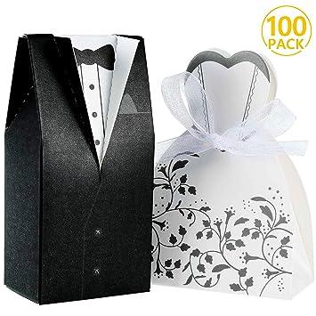 Foonii® 100pcs Cajas de Caramelos Cajas de Regalo (50pcs Novia + 50pcs Novio), Regalo, Recuerdo, Favor, Detalle, Decoración para Invitados de Boda: ...