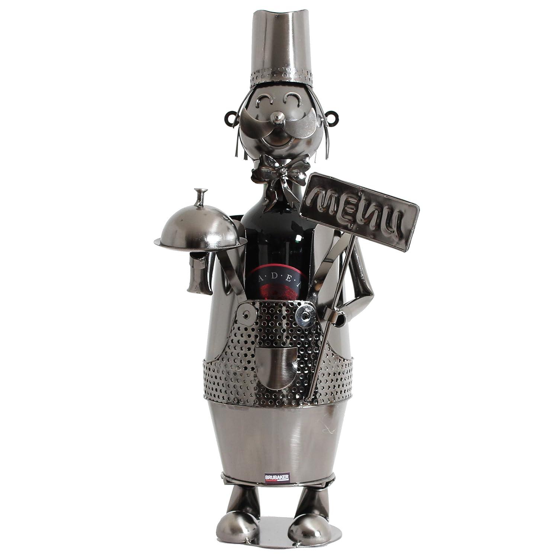 Chef de Cuisine Sculpture en M/étal BRUBAKER Porte-bouteille de Vin d/écoratif Id/ée cadeau