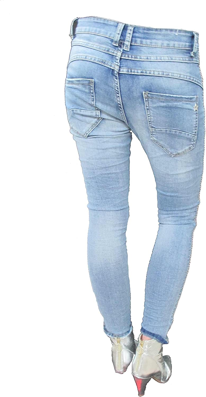 K1001 Donna Jeans jewelly by lexxury STRAPPATI SLIM PANTALONI BOYFRIEND CON BOTTONI