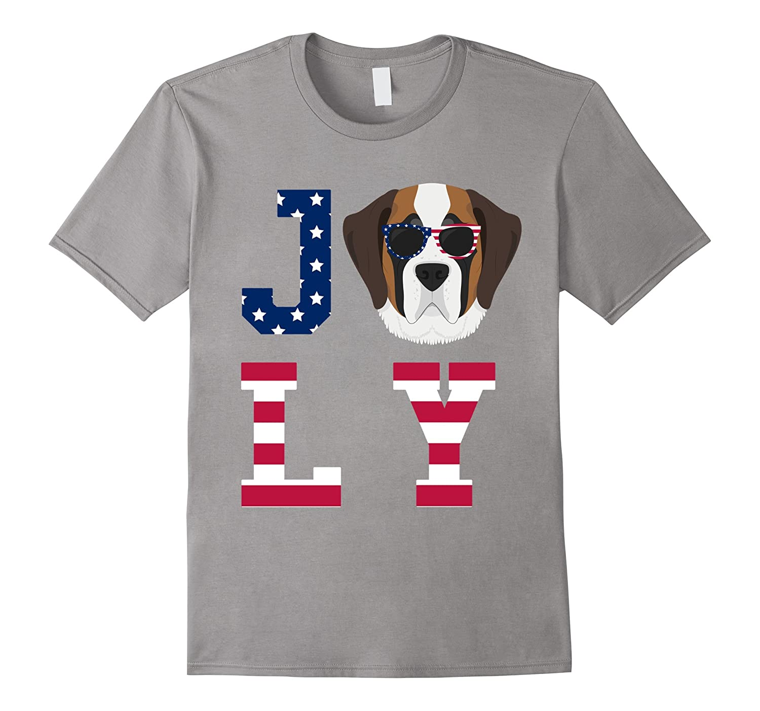 4th of July - Saint Bernard American Flag Dog T-Shirt-Art