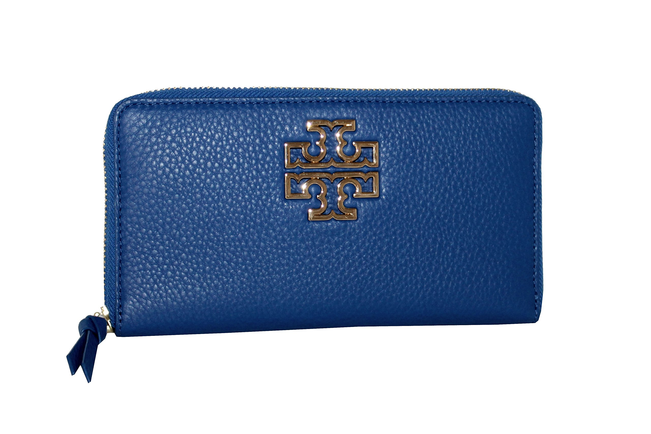Tory Burch Britten Pebbled Leather Zip Around Continental Wallet