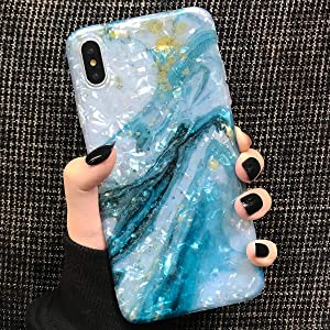 Compatible with iPhone Xs Max Case Marble iPhone Xs Plus Case Girls Women Cute [Tinfoil] Pearly Glitter Phone Case Protective TPU Silicone Case for iPhone X/Xs Max 6.5 inch (Blue White)