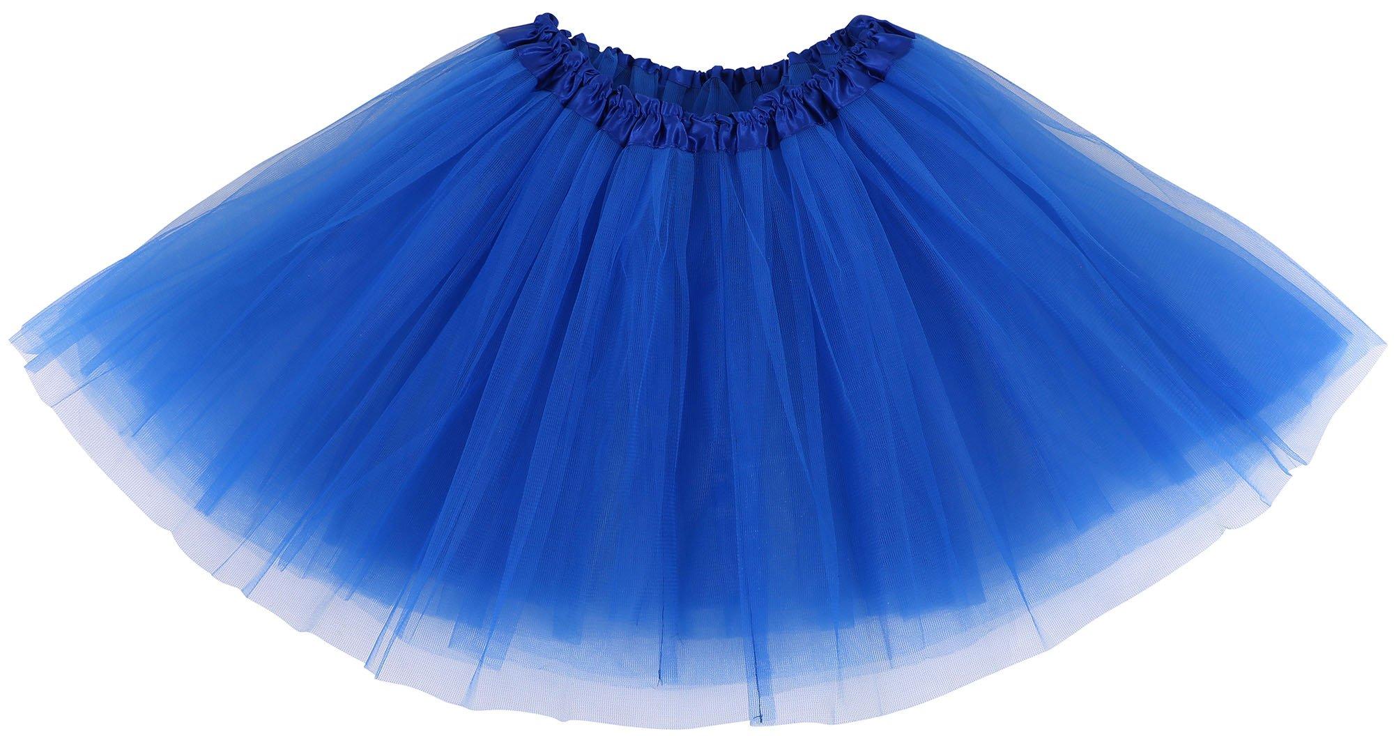 Simplicity Women's Classic Elastic, 3-Layered Tulle Tutu Skirt, Royal Blue
