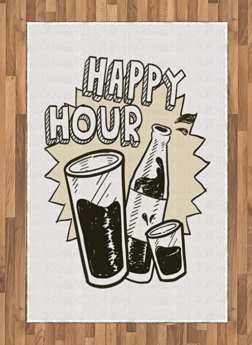 Amazon Com Lunarable Happy Hour Area Rug Vintage Hand Drawn